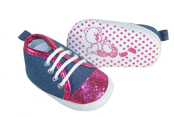 Baby girl denim and fuchsia pink sparkle trainers-3749