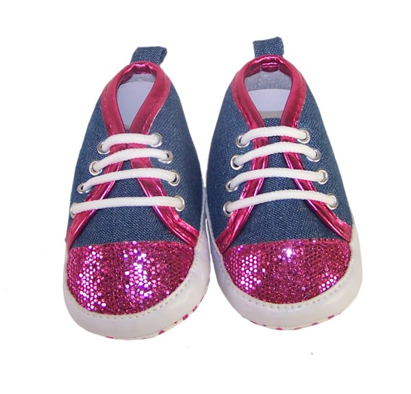 Baby girl denim and fuchsia pink sparkle trainers-3748