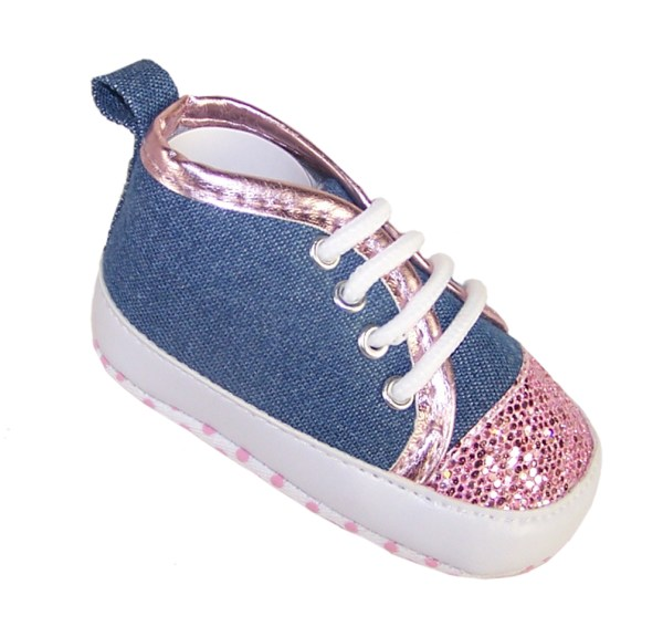 Baby girl denim and pink sparkle trainers-0