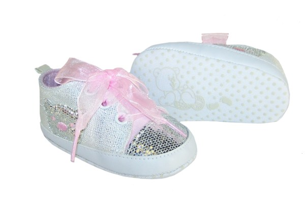 Baby white and silver sparkly bear trainers-3759