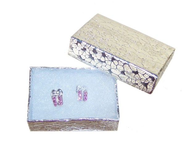 Girls pink ballet shoes crystal stud silver earrings-3862