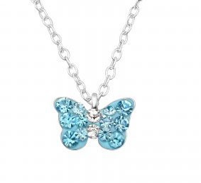 Girls silver necklace with blue crystal butterfly pendant