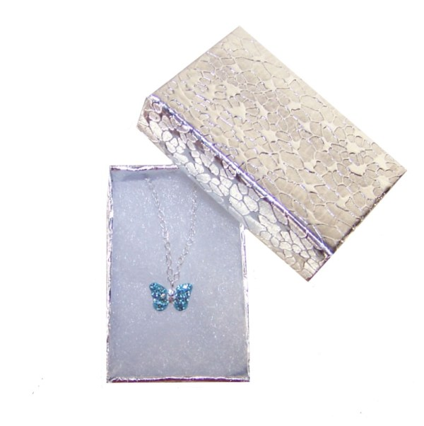 Girls silver necklace with blue crystal butterfly pendant-3870