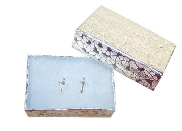 Girls crystal silver cross stud earrings-3865