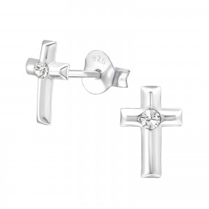 Girls crystal silver cross stud earrings