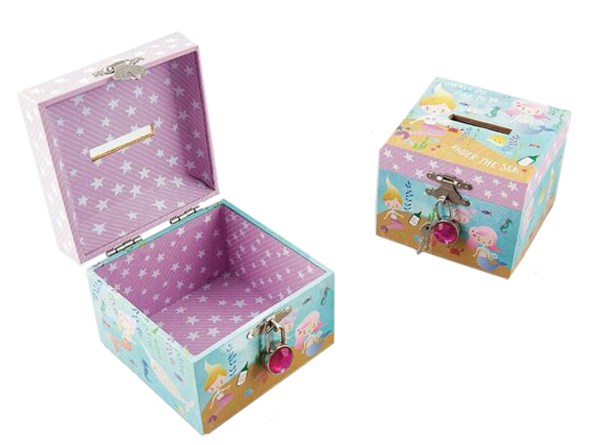 Mermaids sparkly money box-3950