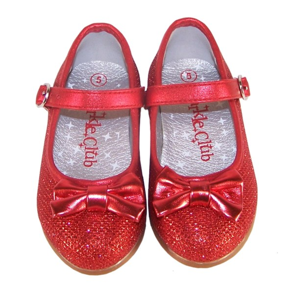 Infant girls red sparkly ballerina party shoes-3847