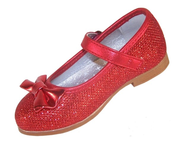 Infant girls red sparkly ballerina party shoes-3846