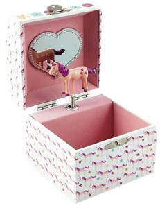 Girls square unicorn musical jewellery box