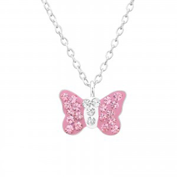 Girls silver necklace with pink Swarovski crystal butterfly pendant-0