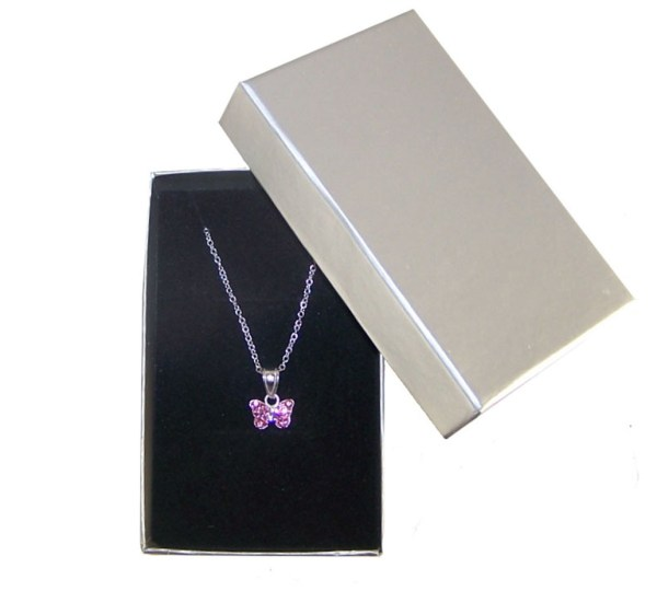 Girls silver necklace with pink Swarovski crystal butterfly pendant-3974