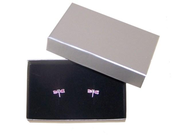 Girls pink crystal dragonfly stud earrings-3973