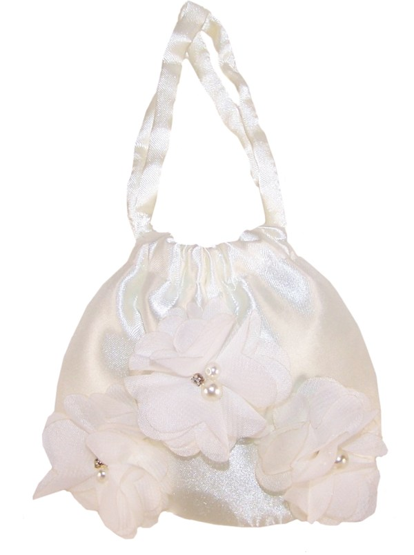 Girls ivory satin drawstring handbag-0