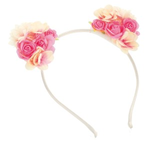 Girls pink flower cluster ears design headband