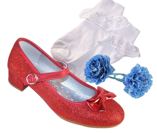 Girls red sparkly heeled dressing up shoes, socks and hair accessory set -0