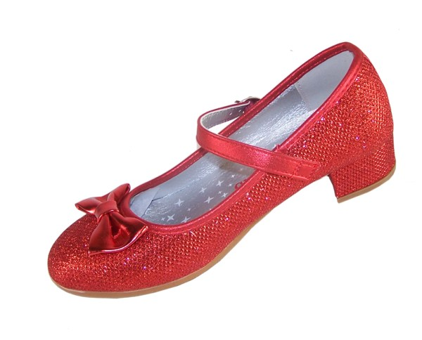 Girls red sparkly heeled dressing up shoes, socks and hair accessory set -4101