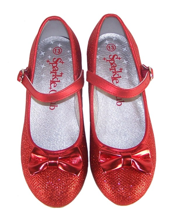 Girls red sparkly heeled dressing up shoes, socks and hair accessory set -4102