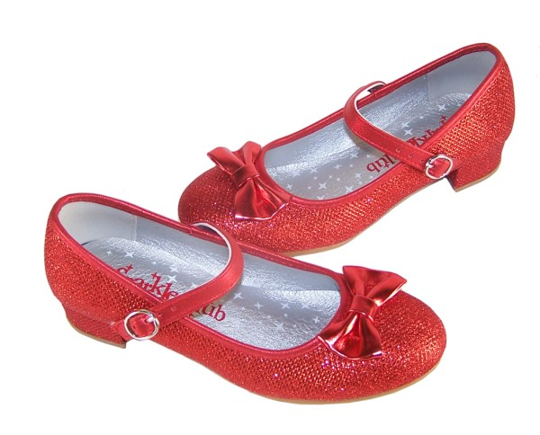 Girls red sparkly heeled dressing up shoes, socks and hair accessory set -4100