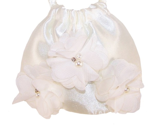 Girls ivory satin flower girl bridesmaid ballerinas and bag -4232
