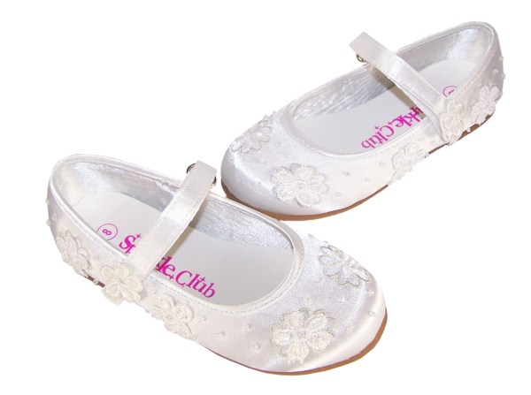 Girls white satin flower girl and bridesmaid ballerina shoes -4211