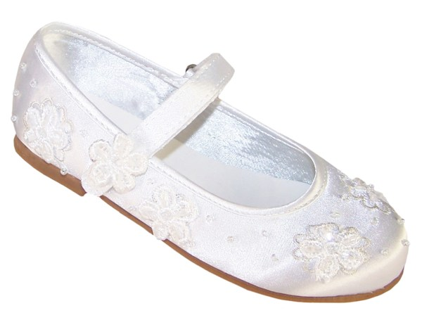 Girls white satin flower girl and bridesmaid ballerina shoes -0
