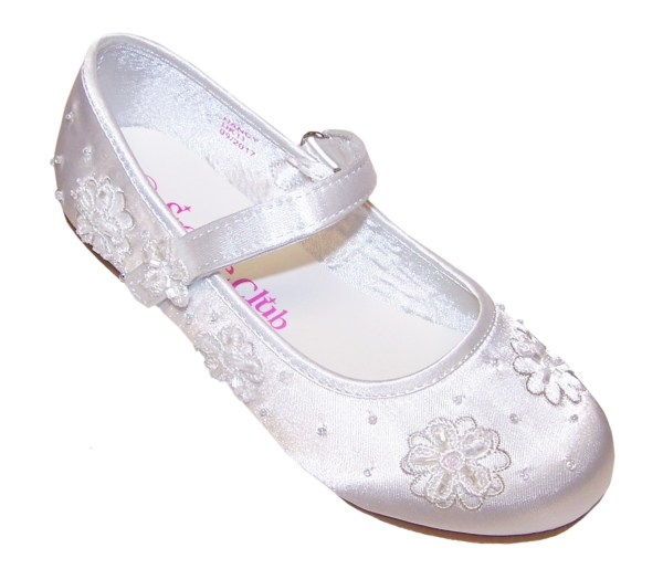 Girls white satin flower girl and bridesmaid ballerina shoes -4244