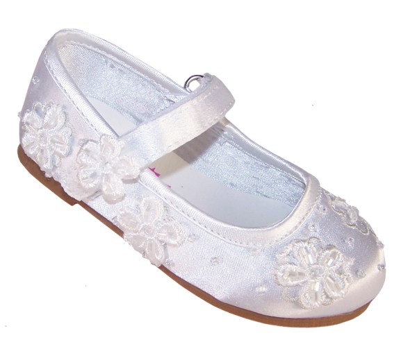 Infant white flower girl, bridesmaid and ballerina shoes-0