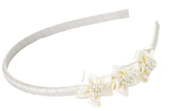 Girls ivory satin flower girl, bridesmaid and ballerina shoes-5765