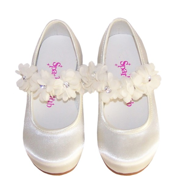 Infants ivory satin flower girl, bridesmaid and ballerina shoes-4198