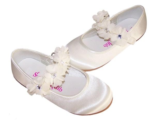 Infants ivory satin flower girl ballerinas and bag -4222