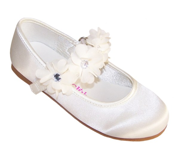 Girls ivory satin flower girl bridesmaid ballerinas and bag -4231