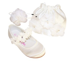 Infants ivory satin flower girl ballerinas and bag