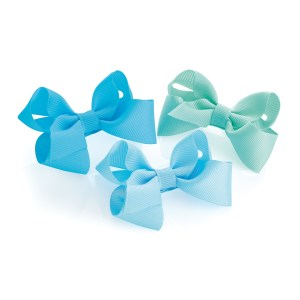 Girls 3 piece blue tone bow hair clips