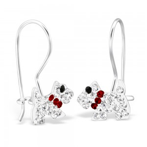 Girls crystal dog silver hoop earrings