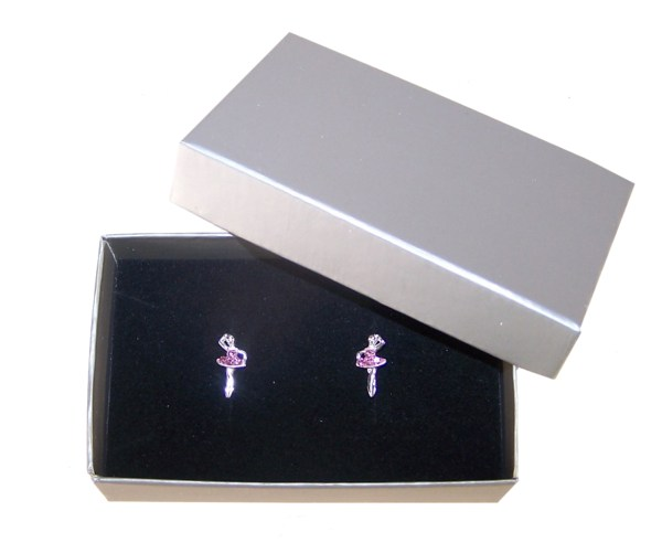Girls pink crystal ballerina stud earrings-4550
