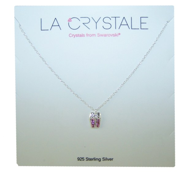 Girls ballet shoes crystal from Swarovski 925 sterling silver necklace-4548