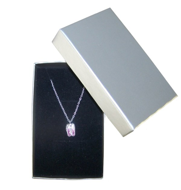 Girls ballet shoes crystal from Swarovski 925 sterling silver necklace-4549