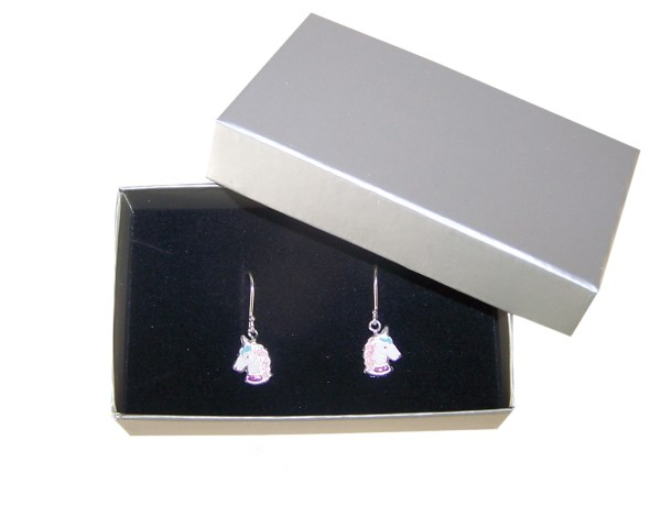 Girls white and pink unicorn silver hoop earrings-4553