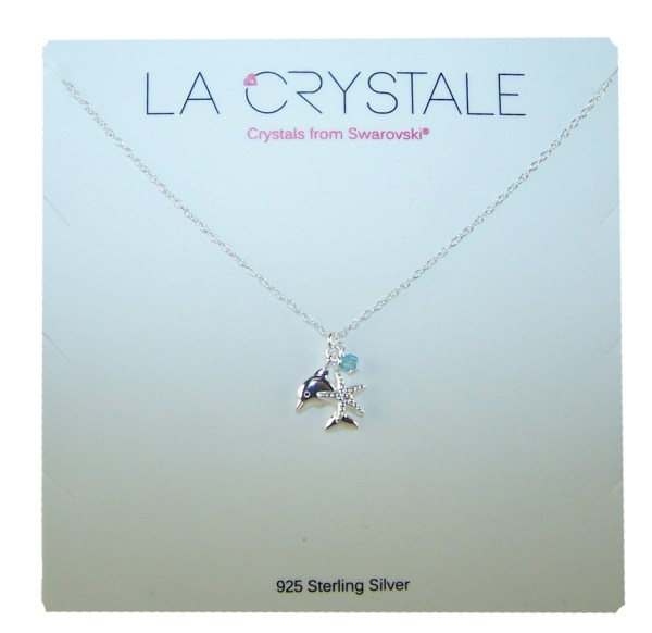 Girls sterling silver dolphin necklace with a crystal from Swarovski -4563