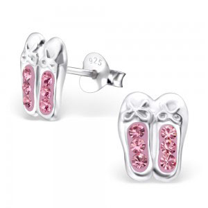 Girls pink crystal ballet shoes 925 sterling silver necklace and stud earrings set-4609