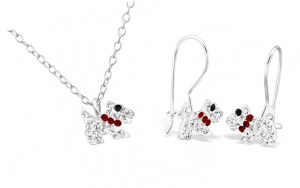 Girls sterling silver crystal dog and earrings set