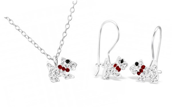 Girls sterling silver crystal dog and earrings set-0