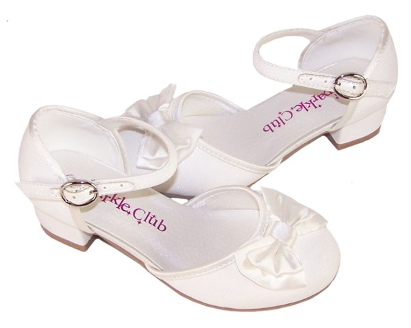 Girls sparkly ivory heeled bridesmaid shoes -4694