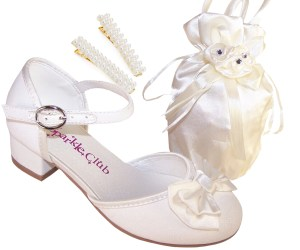 Girls sparkly flower girl and bridesmaid shoes and satin bag