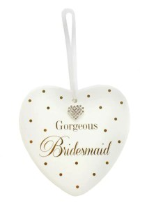 Bridesmaids sparkly heart plaque gift
