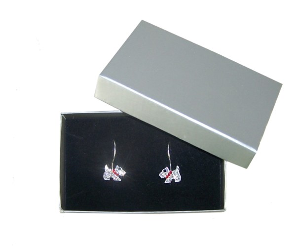 Girls sterling silver crystal dog and earrings set-4598