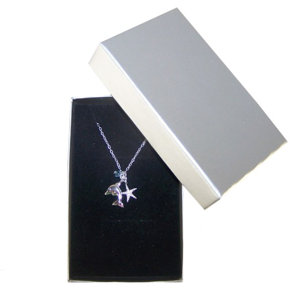 Girls mermaid themed jewellery box and silver dolphin necklace set-4635