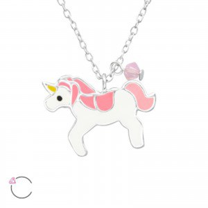 Girls sterling silver and epoxy unicorn necklace with a crystal from Swarovski