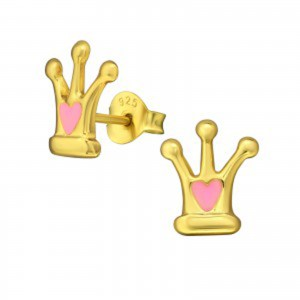 Girls 925 sterling silver gold plated crown stud earrings