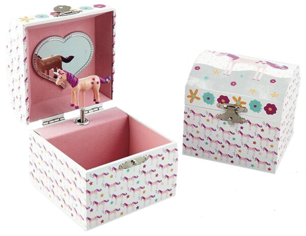 Girls unicorn musical jewellery box with silver necklace and earrings-4617
